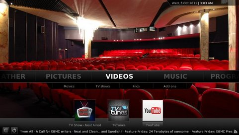 XBMC Media Center 11.0 screenshot (481 pix)
