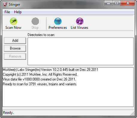 McAfee Stinger 10.2.0.445 screenshot