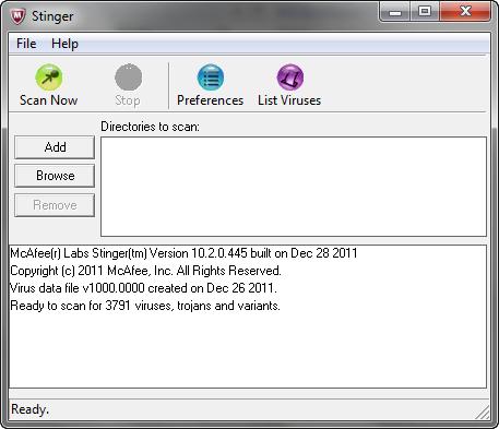 McAfee Stinger 10.2.0.445 screenshot