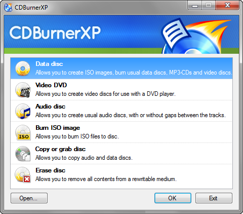 CDBurnerXP screenshot (480 pix)
