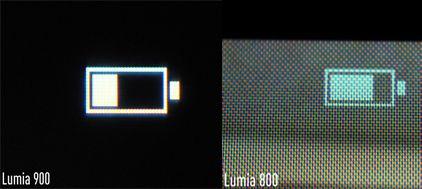 Macro-opnamen schermen Nokia Lumia 900 en Lumia 800 (bron: The Verge)