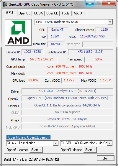 GPU Caps Viewer 1.14.6 screenshot