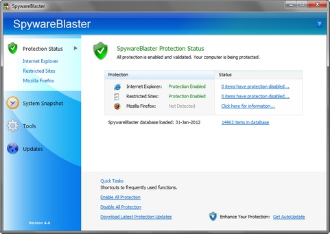 SpywareBlaster 4.6 screenshot (481 pix)
