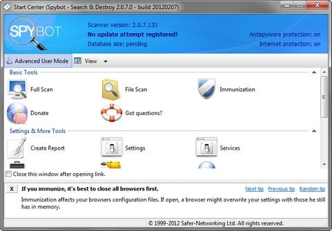 Spybot - Search & Destroy 2.0.7 bèta 5 screenshot (481 pix)