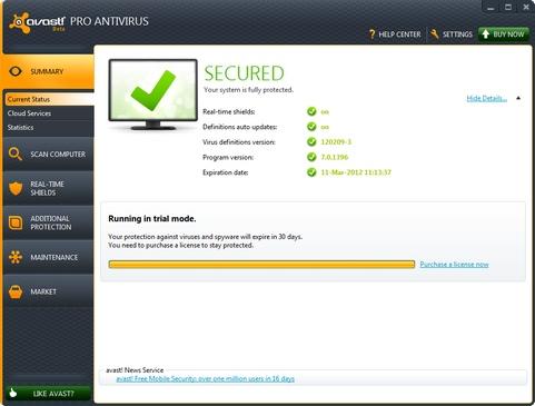 Avast Antivirus 7.0.1396 bèta screenshot (481 pix)