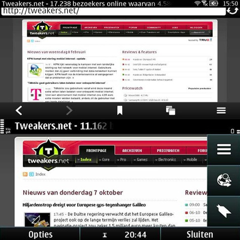 Symbian^3 en Nokia Belle - browser