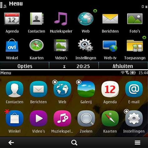 Symbian^3 en Nokia Belle - hoofdmenu