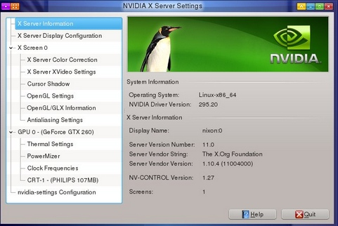 Nvidia Linux Display Driver 295.20 screenshot (481 pix)