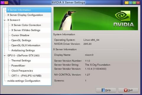 Nvidia Linux Display Driver 295.33 screenshot (481 pix)