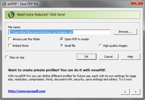 doPDF 7.2 build 377 screenshot (481 pix)