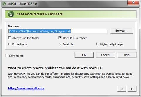 doPDF 7.2 build 377 screenshot (481 pix)