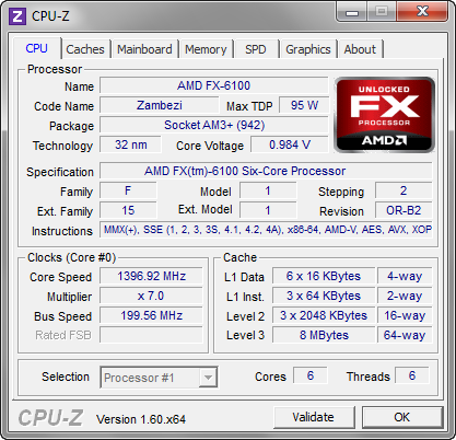 CPU-Z 1.60 screenshot