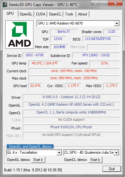 GPU Caps Viewer 1.15.1 screenshot