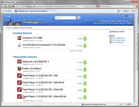 FileHippo Update Checker screenshot (481 pix)