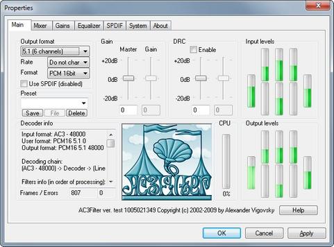 AC3Filter screenshot (481 pix)