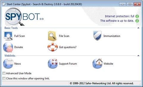 Spybot - Search & Destroy 2.0.8 bèta 6 screenshot (481 pix)