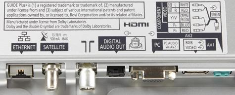 Panasonic Viera WT50 aansluitingen
