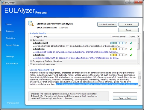 EULAlyzer 2.2 screenshot