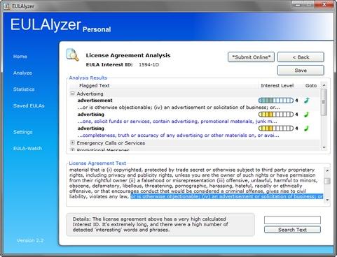 EULAlyzer 2.2 screenshot