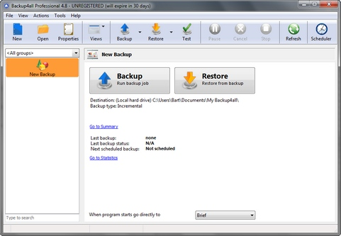 Backup4all 4.8 build 275 screenshot