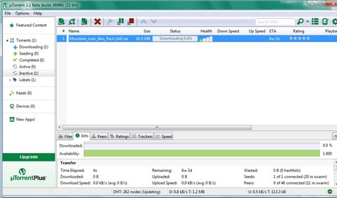 µTorrent 3.2 screenshot (481 pix)