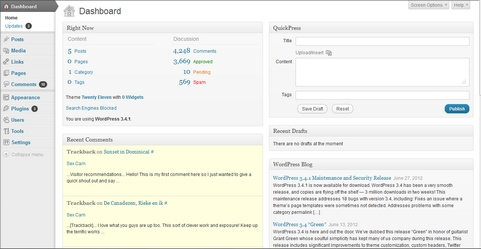 WordPress 3.4.1 dashboard screenshot (481 pix)