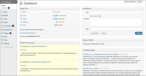WordPress 3.4.1 dashboard screenshot (481 pix)