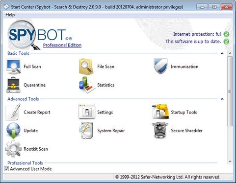 Spybot - Search & Destroy 2.0.9 RC 1 screenshot (481 pix)