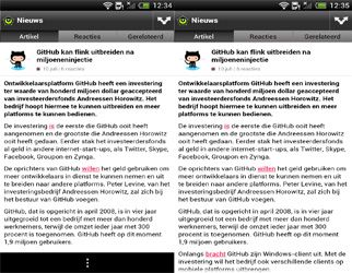 HTC One X met zwarte balk (links) en zonder zwarte balk (rechts)