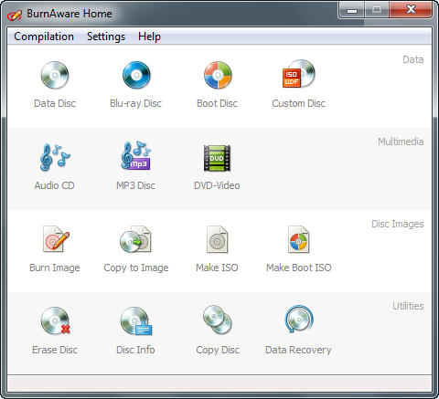 BurnAware Home 5.0 screenshot