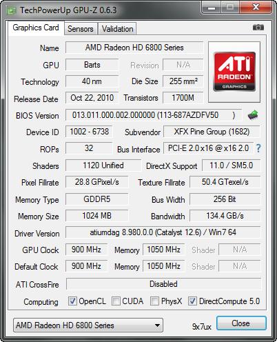 GPU-Z 0.6.3 screenshot