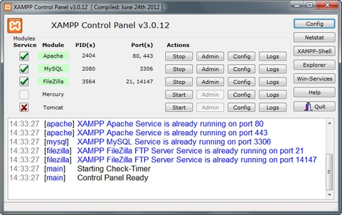 XAMPP screenshot (481 pix)