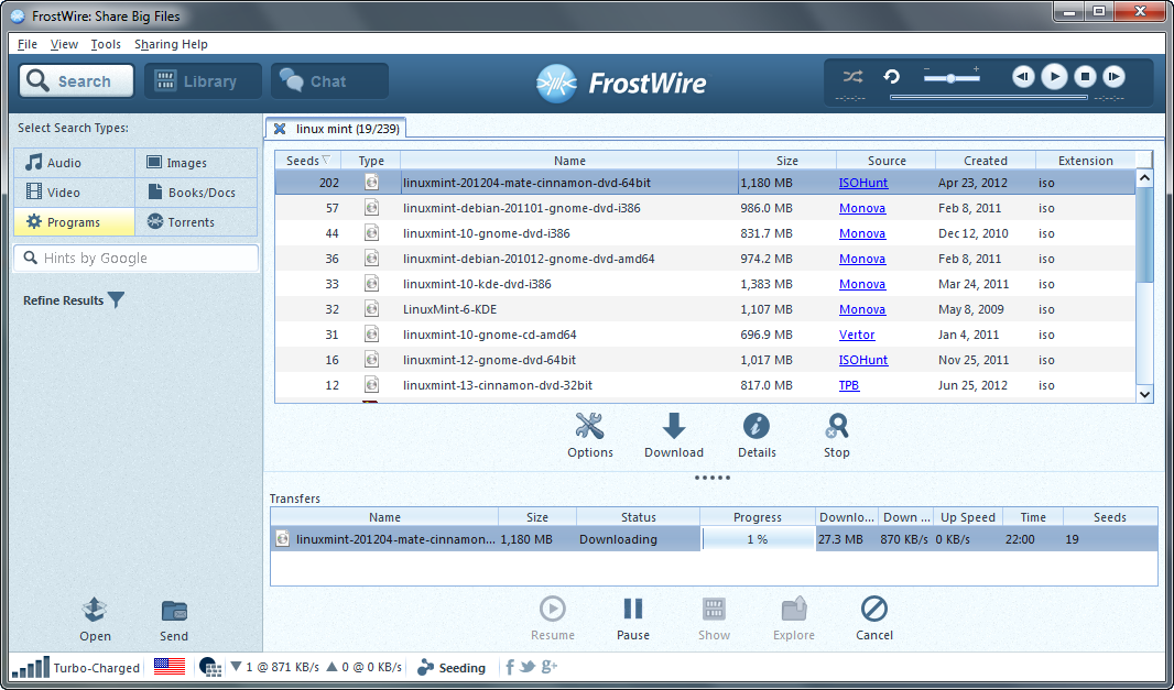 Frostwire 4.21.8 free for windows