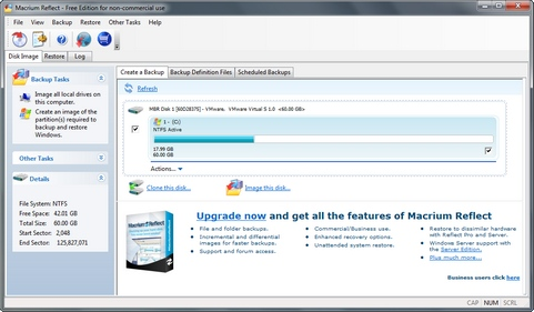Macrium Reflect 5.0 screenshot