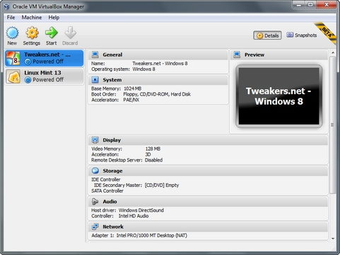 VirtualBox 4.2.0 bèta 1 screenshot