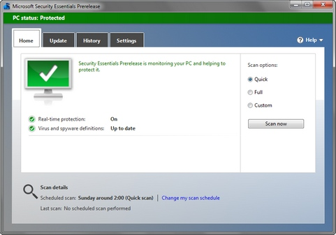 Microsoft Security Essentials 4.1.509.0 prerelease screenshot (481 pix)
