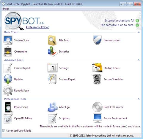 Spybot - Search & Destroy 2.0.10 RC 2 screenshot (481 pix)