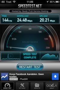 Screenshot Speedtest.net op 4g (via router Tele2)