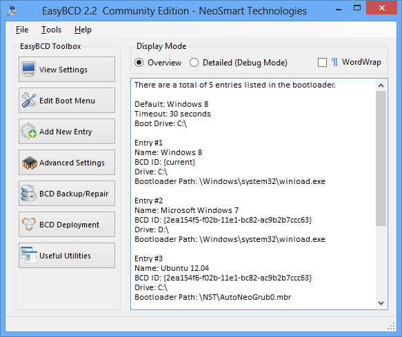 EasyBCD 2.2 screenshot