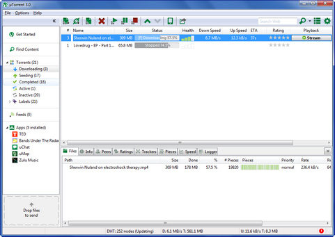 µTorrent 3.0 screenshot (481 pix)