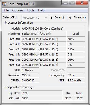 CoreTemp 1.0 RC4 screenshot