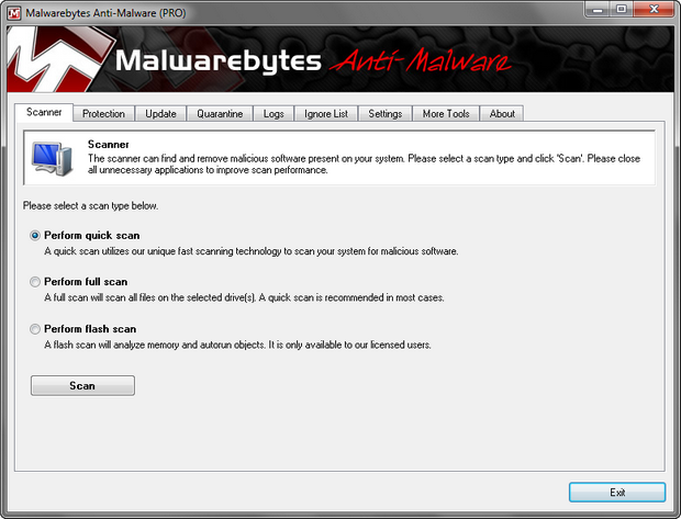Malwarebytes' Anti-Malware screenshot (620 pix)