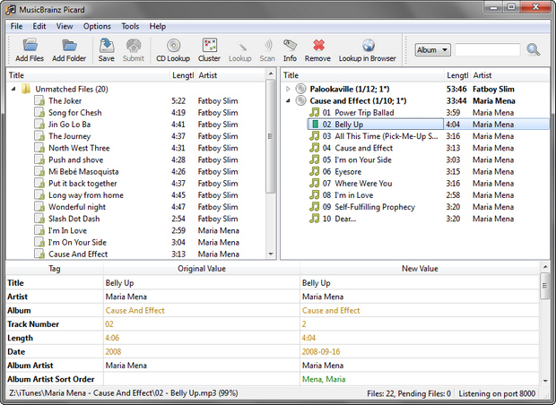 MusicBrainz Picard screenshot (620 pix)