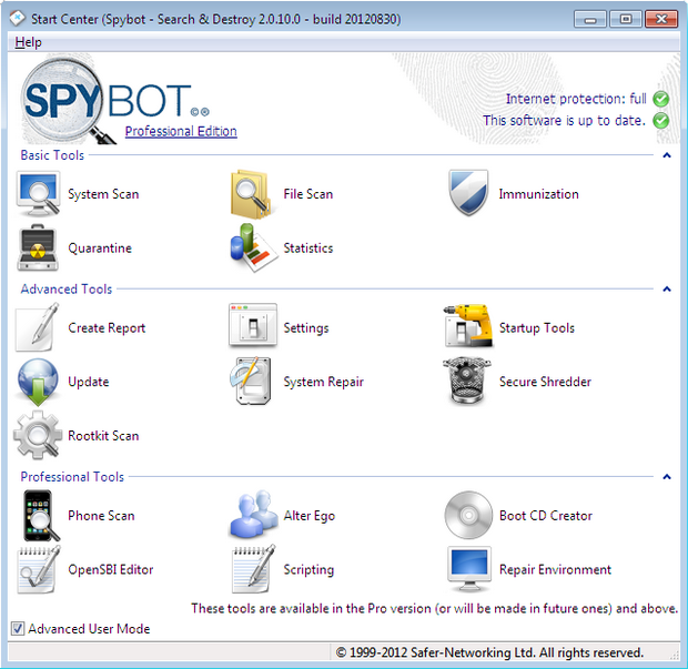 Spybot - Search & Destroy 2.0.10 RC 2 screenshot (620 pix)