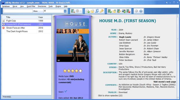 All My Movies 7.2 build 1404 screenshot (620 pix)