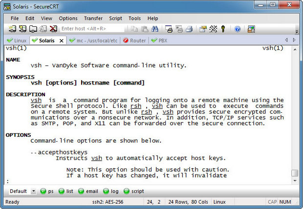 SecureCRT in Ubuntu screenshot (620 pix)