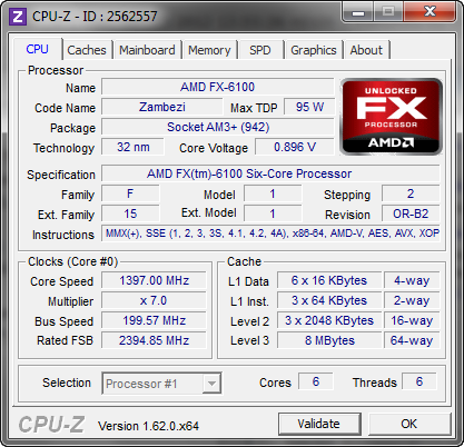 CPU-Z 1.62 screenshot