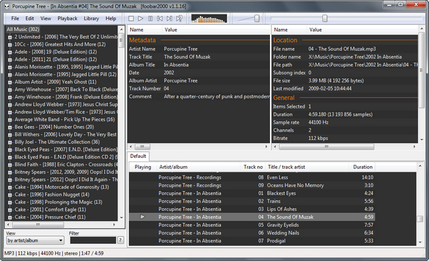 foobar2000 screenshot (620 pix)