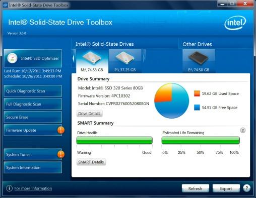 Intel SSD Toolbox 3.0 screenshot (508 pix)