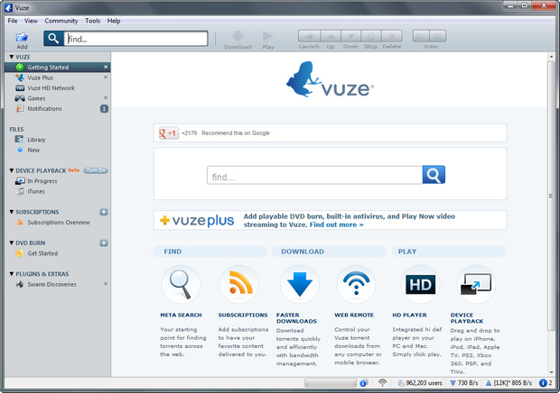 Vuze 4.8.0.0 screenshot (620 pix)